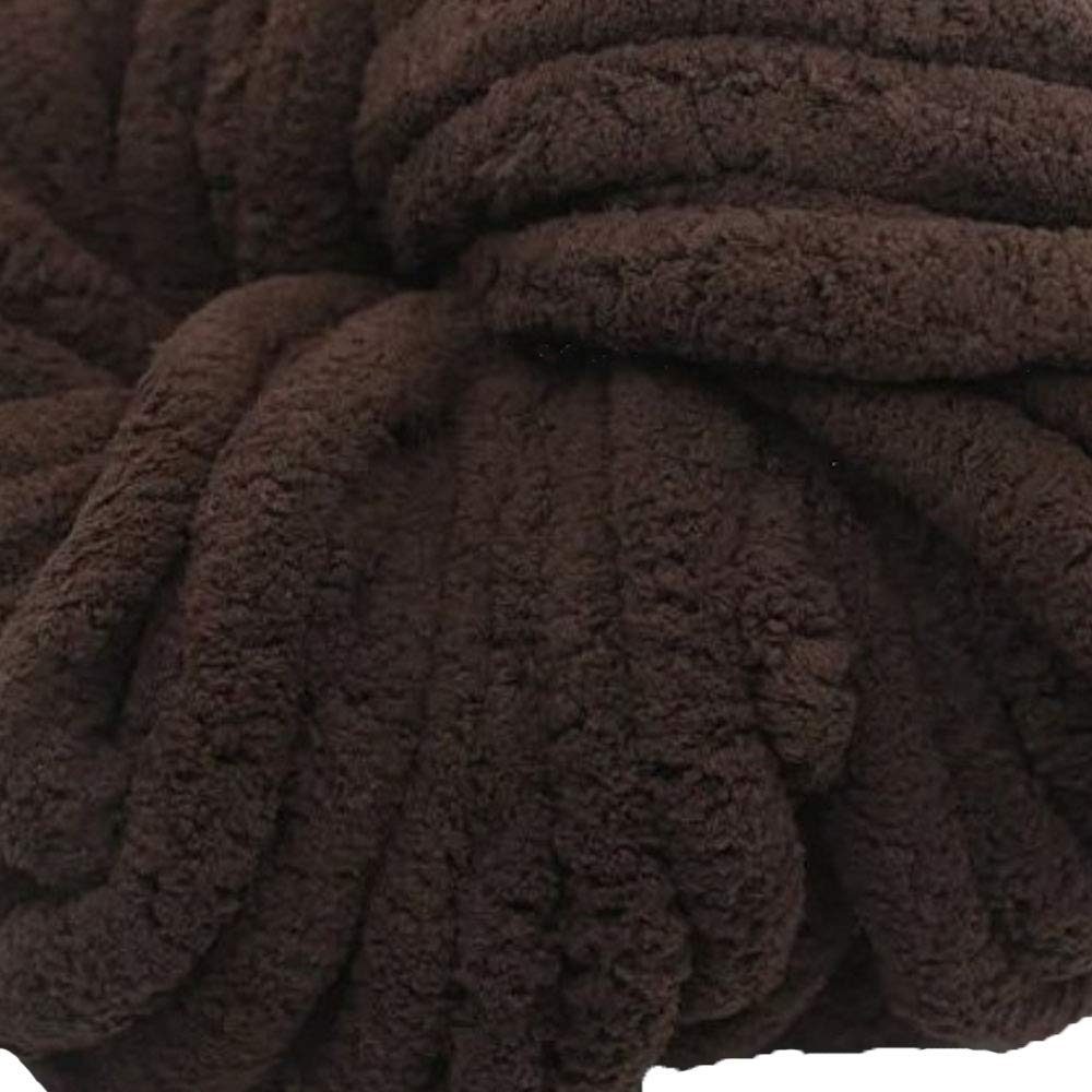 Coffee Chunky Chenille Yarn,4.4lbs/2kg Arm Knit Yarn, Baby Yarn,Soft Yarn 100% Polyester,Hand Knitting Yarn,Jumbo Yarn,Knitting Materials for Blankets,Rug,Pet Bed,Hat
