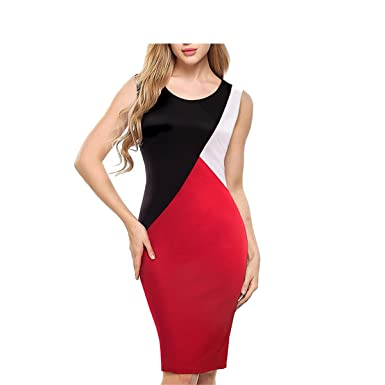 V.Terns Vintage Color Block Patchwork Contrast Sleeveless vestidos Wear to Work Bodycon Office Women