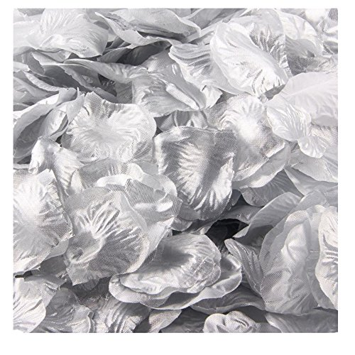 Ecosin® Silk Rose Petals Artificial Flower Wedding Favor Confetti Bridal Shower Aisle Vase Decor (Silver J) - Orchid Wedding Favors