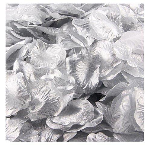 Orchid Wedding Favors (Ecosin® Silk Rose Petals Artificial Flower Wedding Favor Confetti Bridal Shower Aisle Vase Decor (Silver)