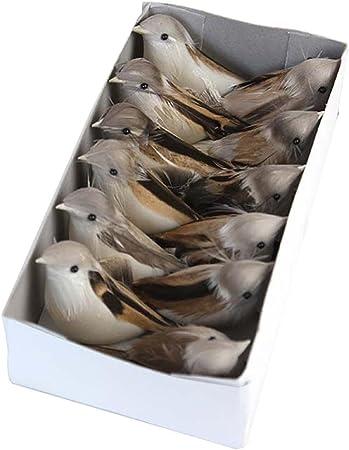 12pcs mousse artificielle plume magpie artisanat oiseau maison décoration
