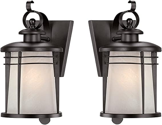 Westinghouse 6674100 Senecaville One-Light Exterior Wall Lantern, Weathered Bronze Finish on Steel with White Alabaster Glass – 2 Pack