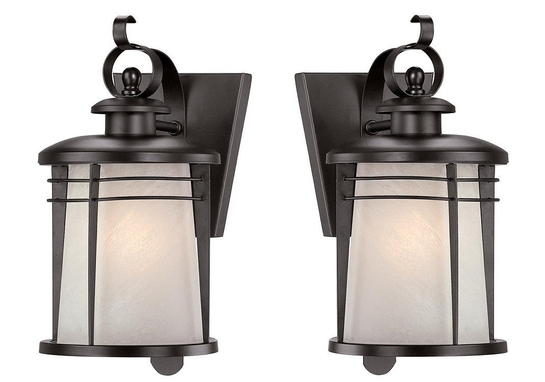 Westinghouse 6674100 Senecaville One-Light Exterior Wall Lantern, Weathered Bronze Finish on Steel with White Alabaster Glass (2 Pack)