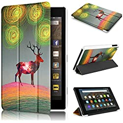 Fire HD 8 Case 7th generation 2017 Release, Swees Slim Folio Protective Leather Smart Case Cover with Stand for All New Amazon Fire HD 8 Tablet with alexa 7th gen 2017 Kids Friendly, Aurora