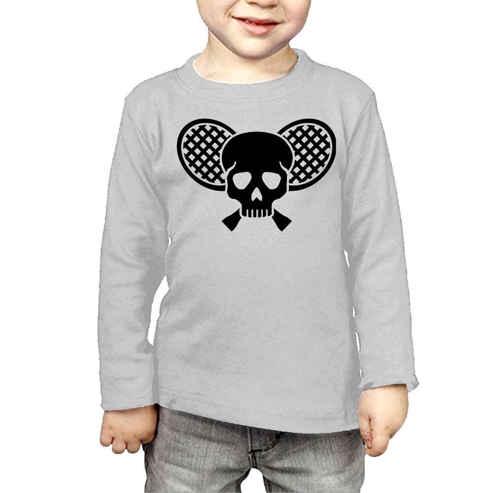 Arromper Skull and Tennis Racquets Girls&Boys Long Sleeve T-Shirts Gray