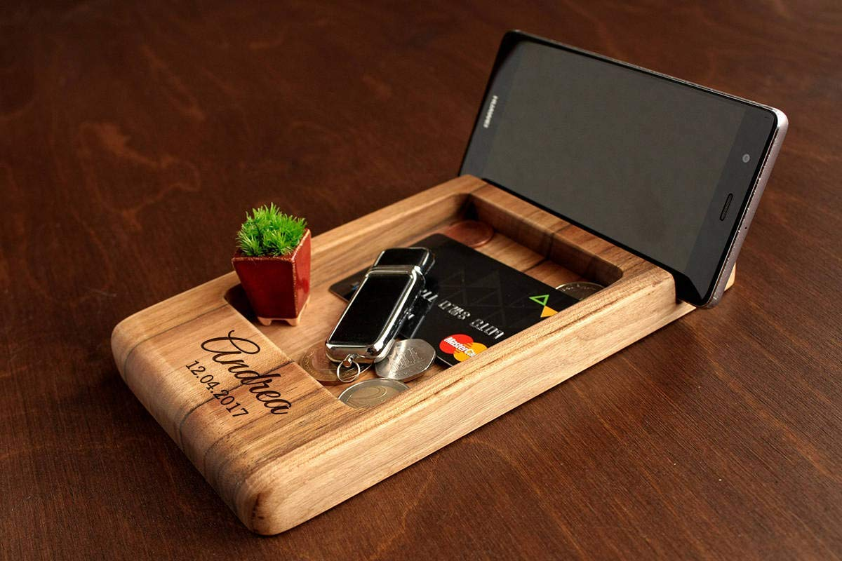 Amazon Com Wooden Desk Organizer Father S Day Gift Christmas Gift For Dad Gift Ideas For Men Gifts For Dad Birthday Wood Docking Station Mens Personalized Gift Birthday Gift For Him Handmade