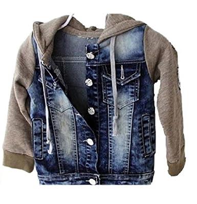 Koo T Boys Hooded Fleece Denim Jacket Age 2 To 7 Years Amazon Co Uk