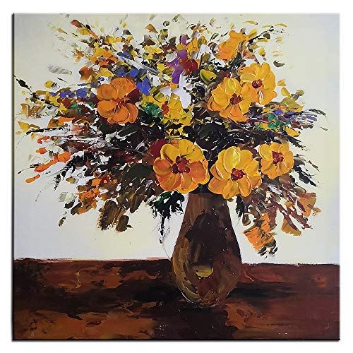 Square Oil Painting - Gincleey Hand Painted 3D Oil Paintings On Canvas, Orange Flower in Vase Canvas Wall Art for Dining Room Modern Colorful Painting Home Decor Vertical Square Art Framed Picture Artwork 32