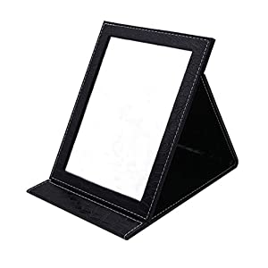 Folding Travel Vanity Mirror with Desktop Standing Makeup Mirror for Cosmetics Personal Beauty Portable Mirrors (Black)