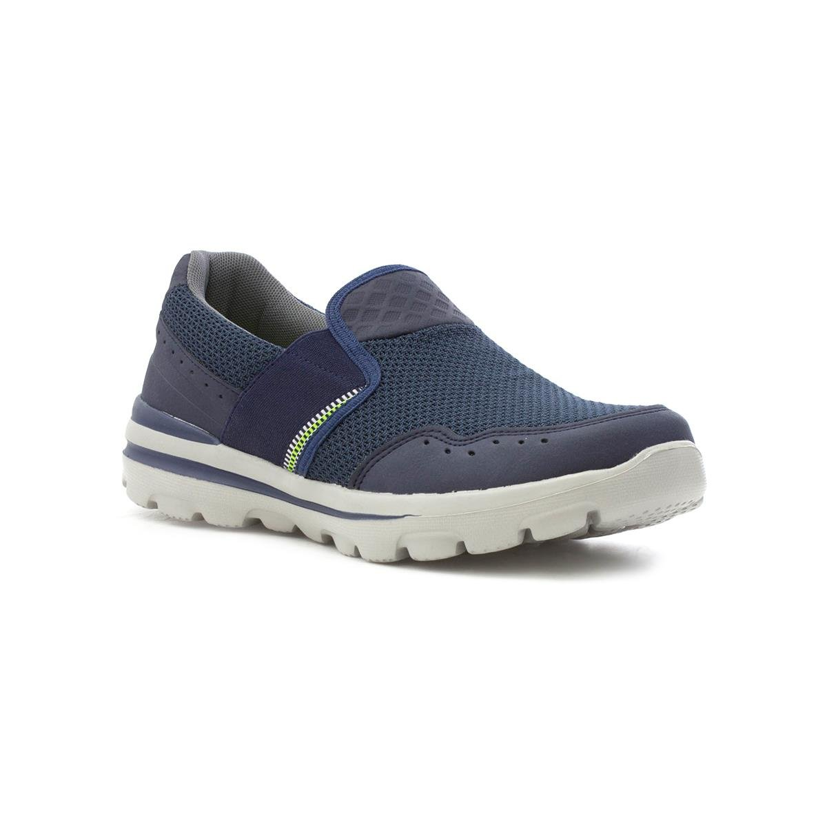 Mens Navy Slip on Sporty Casual Shoe