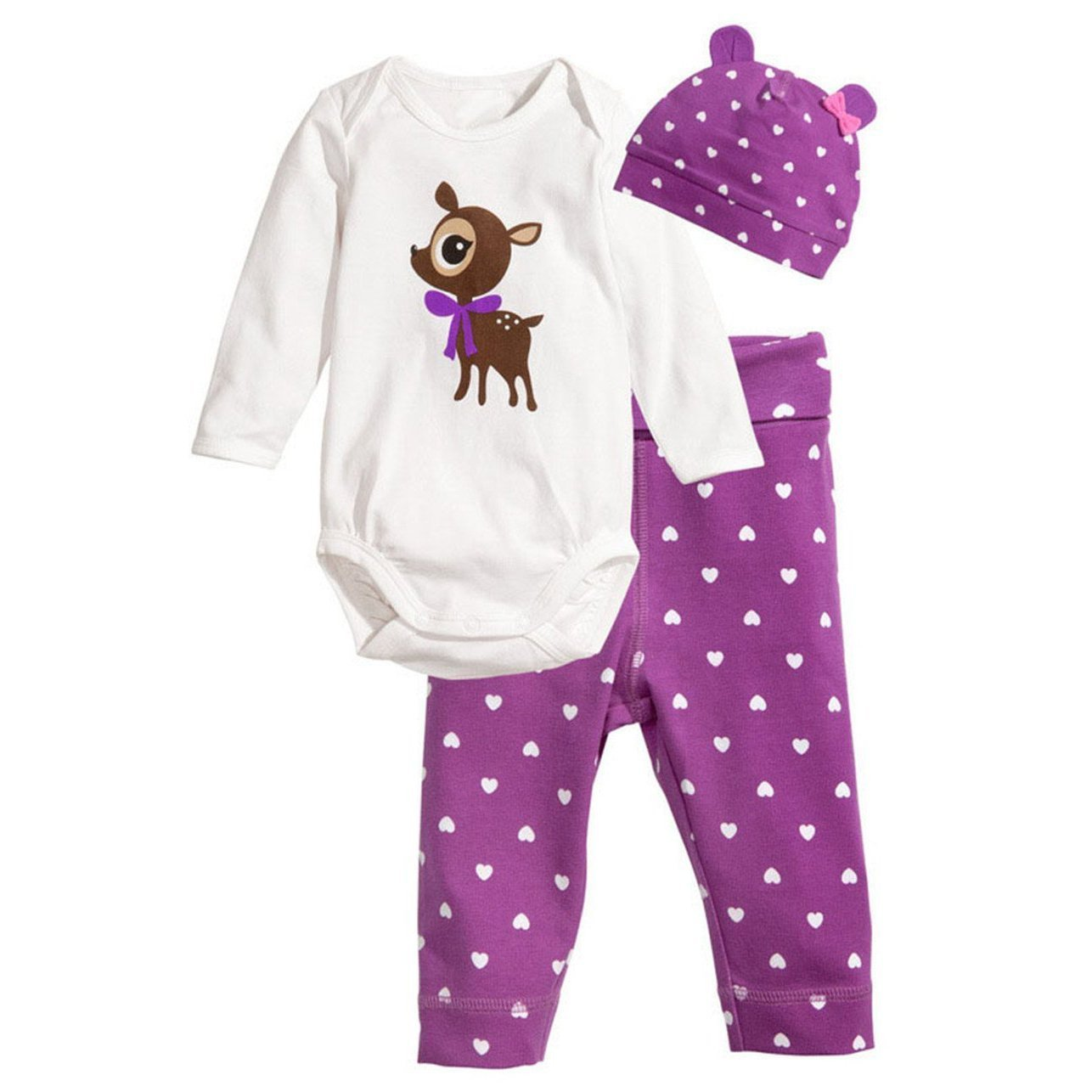 GQMART Baby Rompers Long Sleeve Cotton Baby Infant Cartoon Animal Deer Newborn Baby Clothes Romper+Hat+Pants 3Pcs Clothing Set -Purple,95Cm