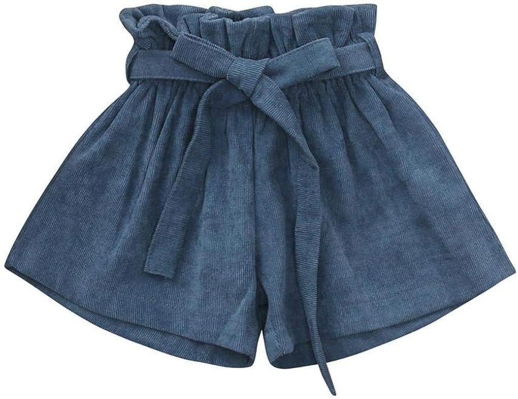 Milkiwai Bambino Ragazza Bowknot Solido Colore Pantaloncini Velluto a Coste Casuale