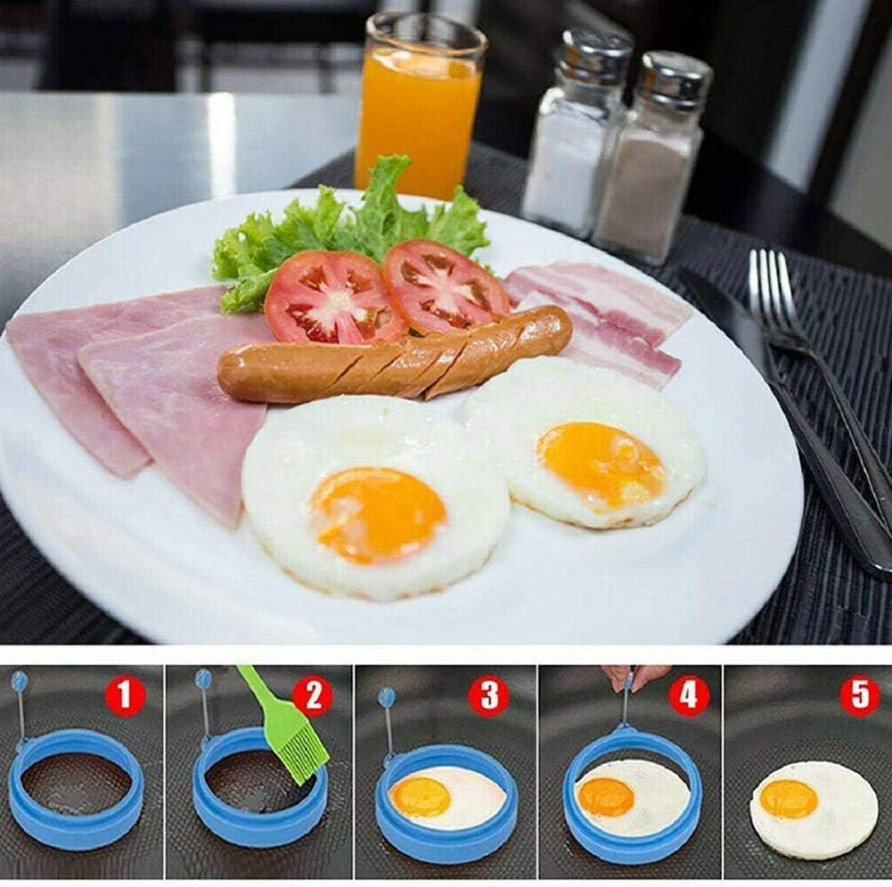 XCSM 5 Piezas de Silicona Anillo de Huevo Molde Redondo para panqueques Antiadherente Huevo Frito Molde para cocinar Anillo