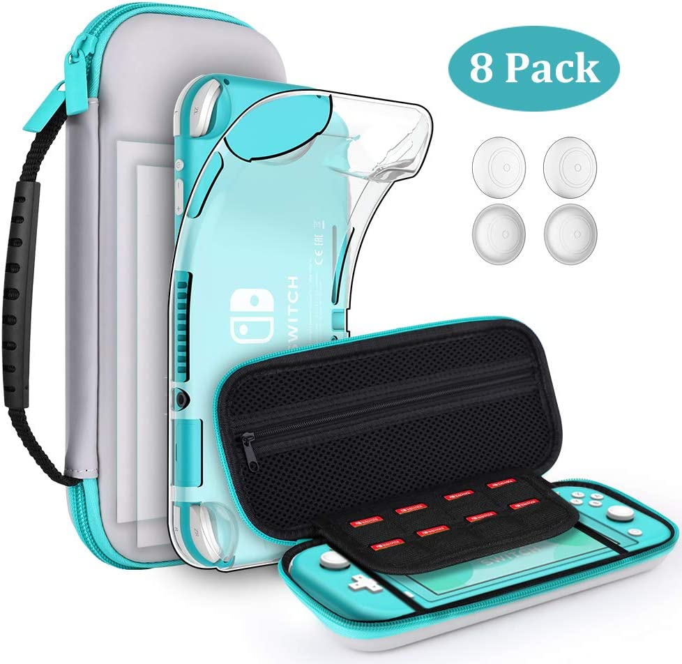 GeeRic 8PCS Case Compatible with Switch Lite, Carrying Case Accessories Kit, 1 Soft Silicon Case + 2 Screen Protector + 4 Thumb Caps + 1 Storage Carrying Gray