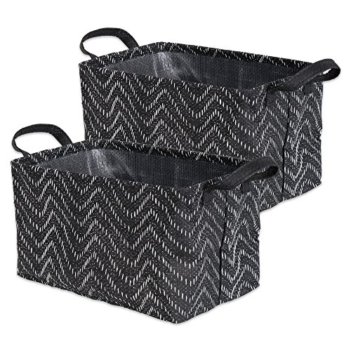 DII Woven Paper Rectangle Laundry Basket, Collapsible Waterproof, Set of 2 - Medium, Black & White