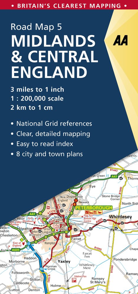 Midlands & Central England Road Map: Midlands & Central England 5. (AA Road Map Britain)
