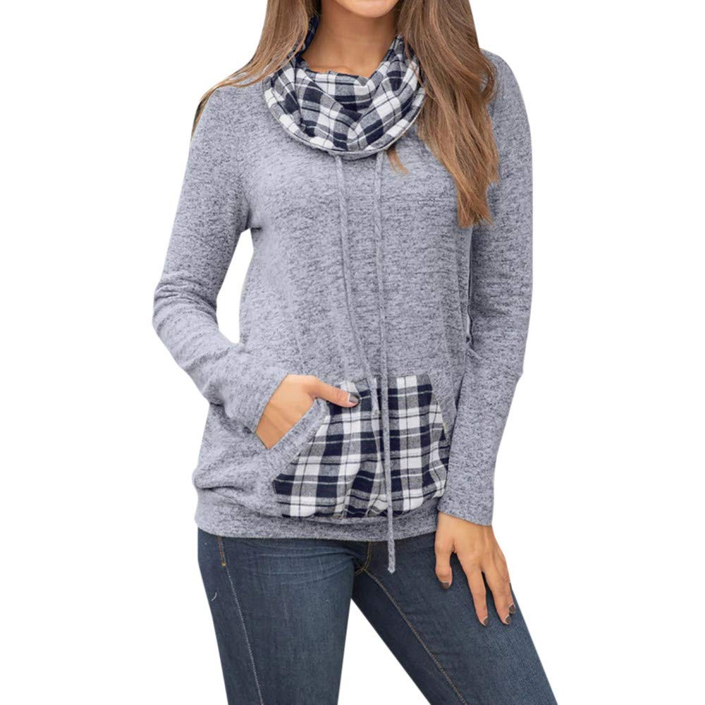 Clearance Women's Pullover FEDULK Fall Winter Plaid Patchwork Long Sleeve Sweatshirt Pocket Blouse(Gray,US Size L = Tag XL)