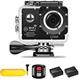 Action Camera 1080P Wifi Waterproof Sports Camera Full HD 30fps 2.7K 30fps 1080P 60fps 720P 120fps Video Camera 16MP Photo and 170° Wide Angle Lens includes Mountings Kit 2 Batteries Buoyancy (black)