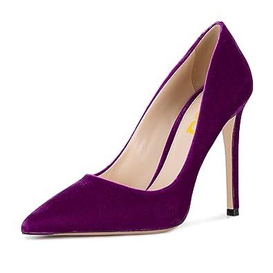 19c026a128d FSJ Women Formal Stiletto High Heels Pumps Pointed Toe Velvet Slide Office  Lady Shoes Size 4