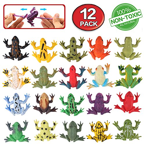 Frog Toys,12 Pack Mini Rubber Frog sets,Food Grade Material TPR Super Stretches,With Gift Bag And Learning Study Card,ValeforToy Realistic Frog Figure Squishy Toys For Boy ()