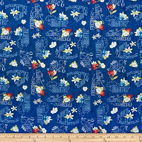 Wilmington Prints Berry Sweet Berries and Word Toss Fabric, Dark Blue, Fabric By The Yard