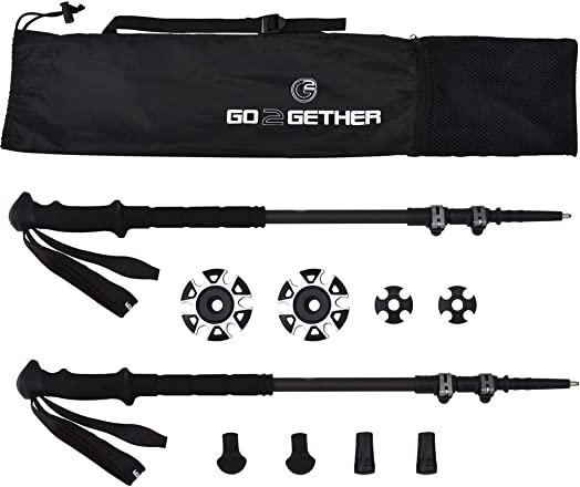G2 GO2GETHER Carbon Lite Trekking Poles Telescopic 100 3K Carbon Fiber Long Soft Durable High-Density Foam Handle Quick Flip Lock Snow Baskets Attached Pack of 2 Poles