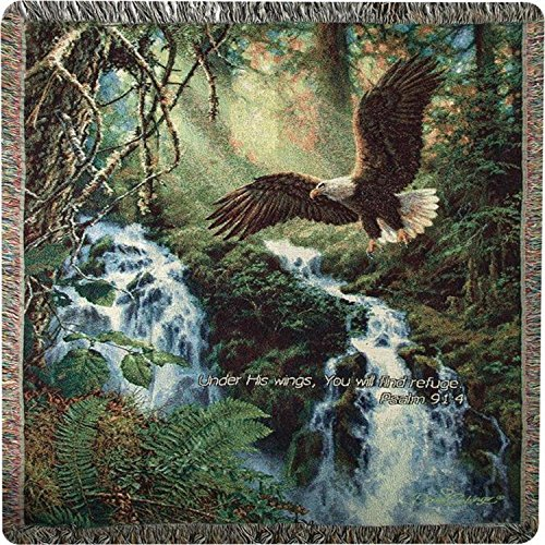 CC Home Furnishings Eagle Flight Bible Verse Tapestry Throw Blanket with Fringe Border 50
