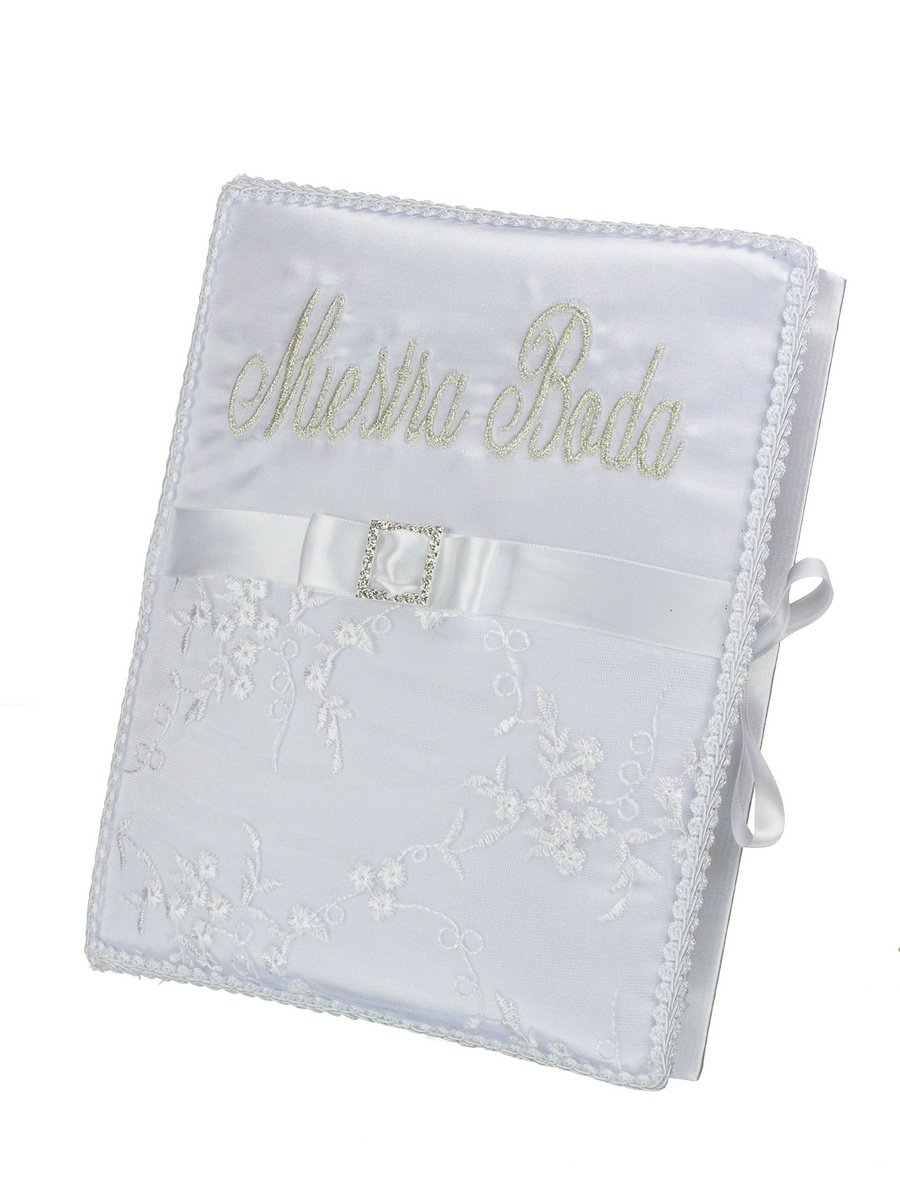 Spanish Style Wedding Decorative Metallic Embroidery Crystal Pendant Guest Book - Spanish Embroidery/White