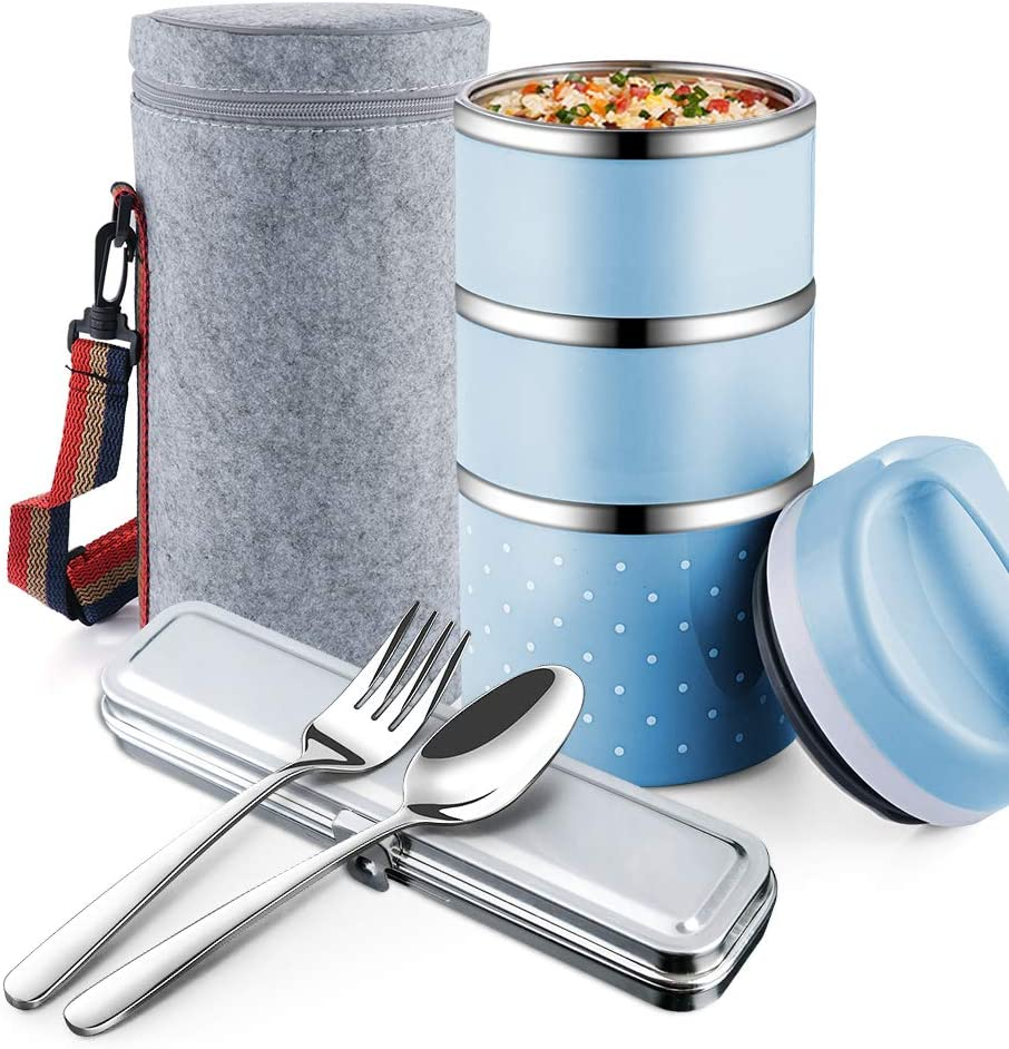 OKQ Stackable Lunch Box Container, 3-Tier Stainless Steel Bento Box, for Adults/Men/Women/Kids, with a Lunch Bag Spoon Fork, Leakproof and Thermal, Insulated Lunch Box -Blue…