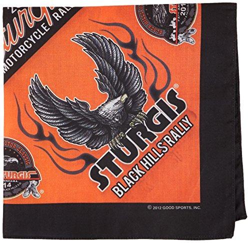 """Hot Leathers Sturgis Motorcycle Rally Upwing Eagle Bandana (Black, 21"""" x 21"""")"""