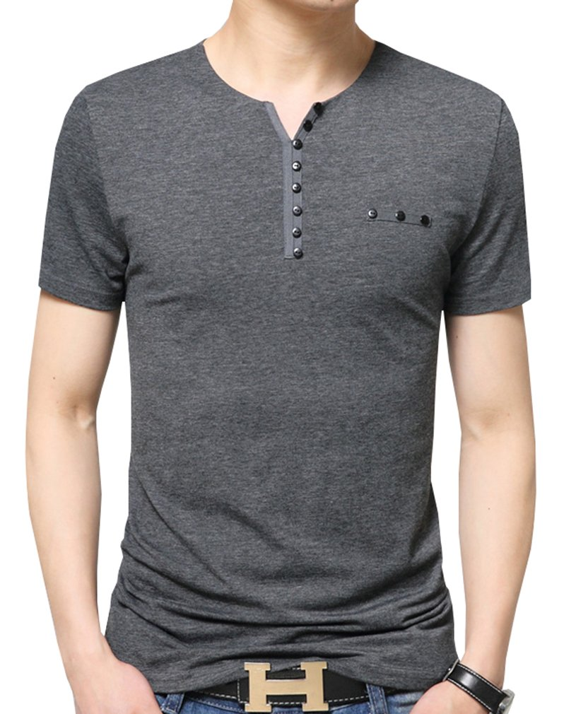Nature Lovers Mens Short Sleeve T-Shirt Casual Tops Tee Classic Fit Basic Shirts D6683 Gray US L/Asian 4XL