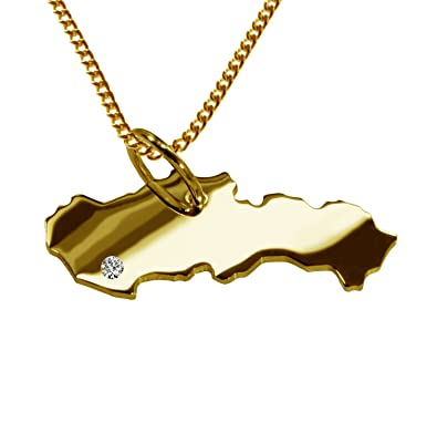 a00c7c4b22 Slovakia 585 Gold Pendant with Diamond and Chain  Amazon.co.uk  Jewellery