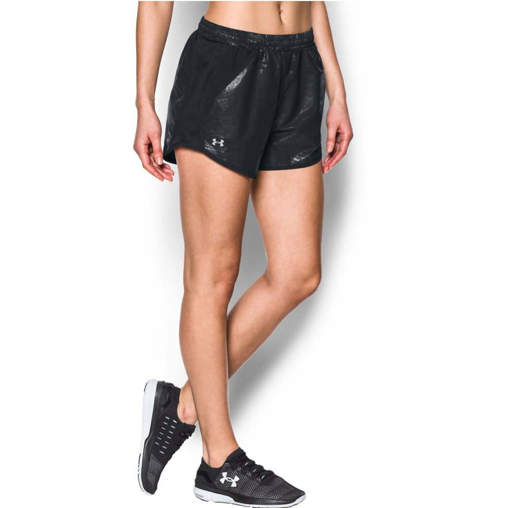 Under Armour Women's Fly-by Printed Shorts, Black (001)/Reflective, X-Small