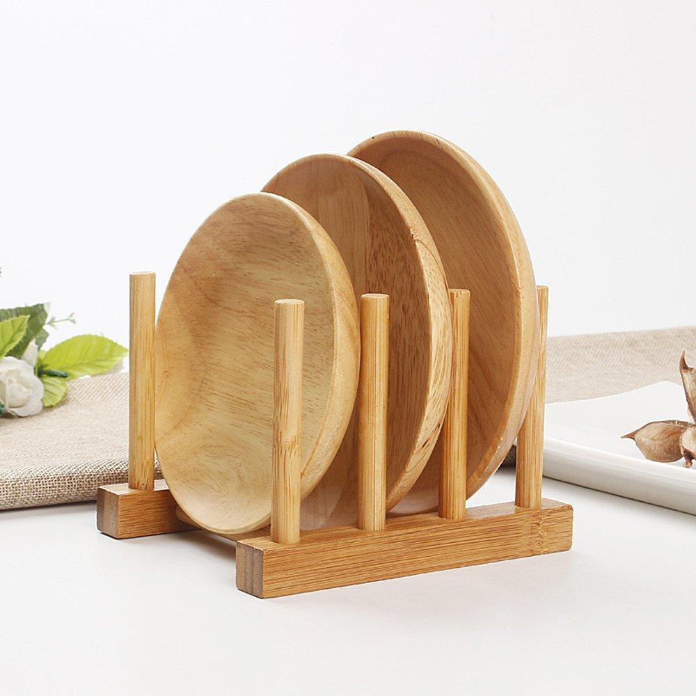 Homieco Funzionale Supporto in bambù portapiatti per asciugatura Supporto porta pentole per piatti, ciotole, tazze, libri, coperchi per pentole