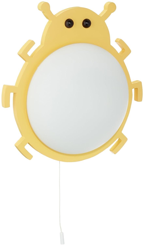 Naeve Leuchten 187498 Käfer - Aplique de pared infantil (cristal, IP20, 1 bombilla E14, 40 W no incluida, 35 x 29,8 x 13,8 cm), diseño de escarabajo, color amarillo Naeve Leuchten GmbH