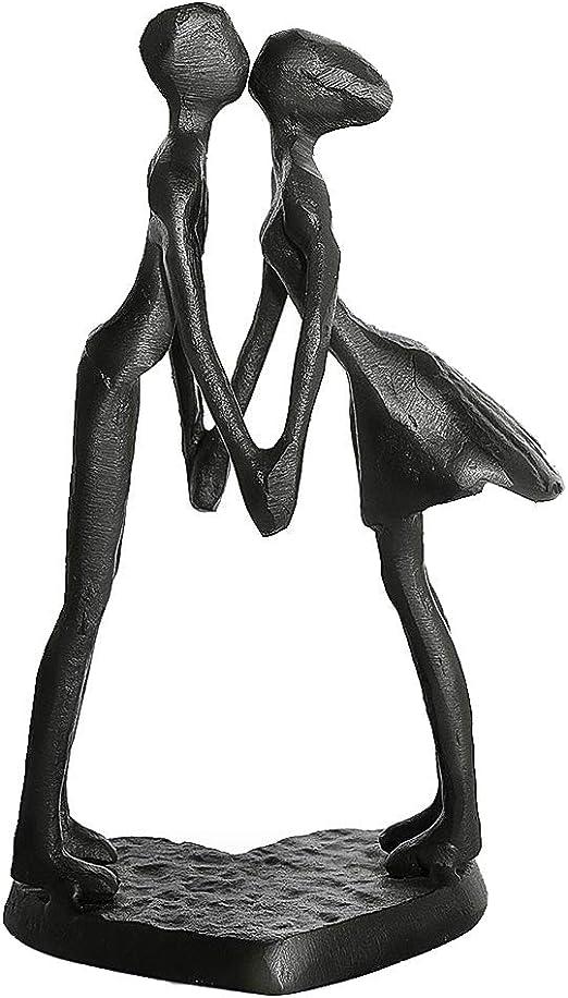 Affectionate Couple Iron Sculpture, Passionate Kiss
