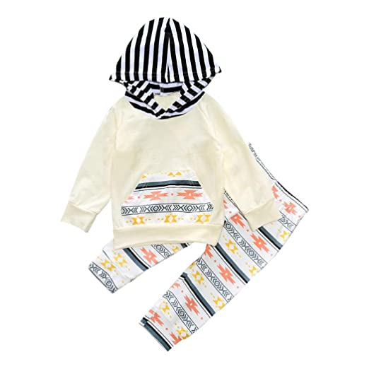 a231952d6 Amazon.com  Ec 2PCS Kids Baby Aztec Strip Hooded Tops Sweatshirt ...