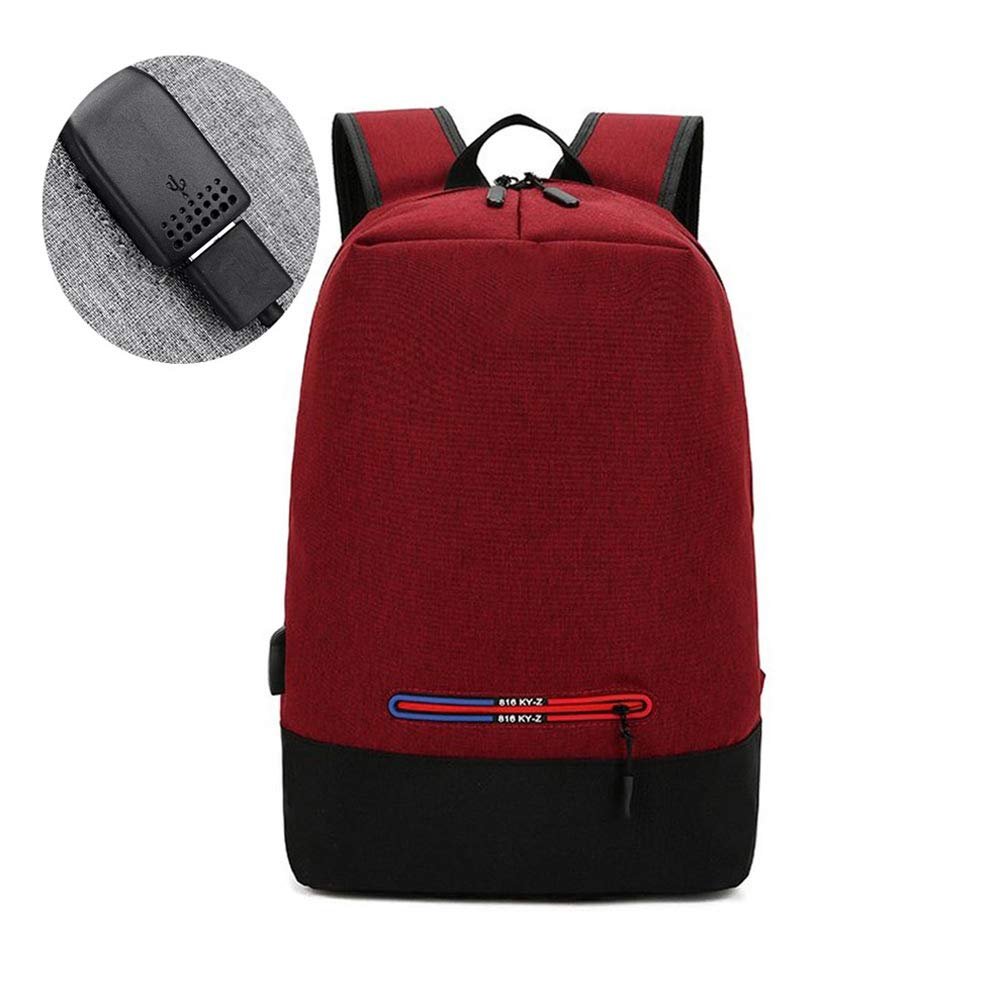 With USB Rechargeable Computer Bag Casual Backpack Waterproof Daypack Folding Knapsack Creative Student Schoolbag Men and Women Universal Rucksack (color   Red, Size   45cm30cm16cm)