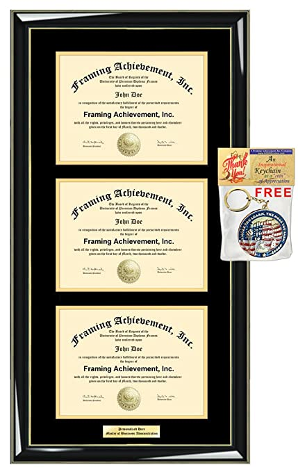 amazon com triple diploma frame certificate frames double engraved