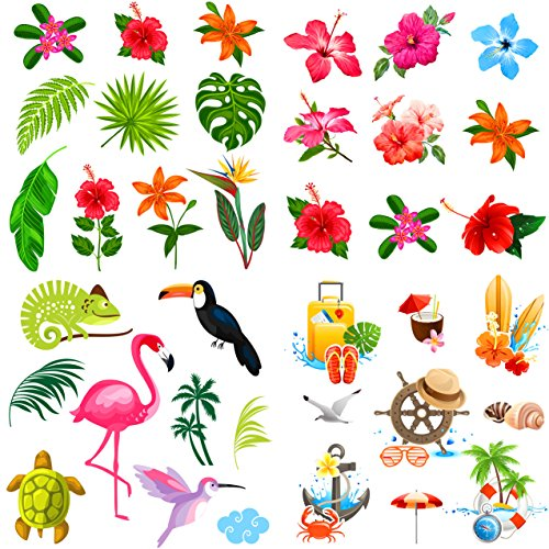 Elcoho 108 Pieces Hawaiian Luau Hibiscus Temporary Tattoos Tropical Tattoos Hawaiian Pattern Tattoos for Party Decorations Supplies, Assorted 36 Styles