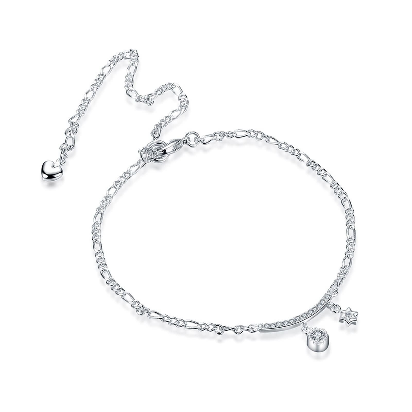Bishilin Beach Foot Jewelry Wedding Hexagram anklet diamond 2.5 CM
