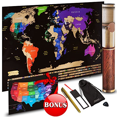 Scratch Off World Map Travel Gift Set – Scratch Art World Map Poster and Country Flags + FREE Scratchable US Map, Scratcher, Microfiber Cloth, Erasable Gold Pen – Wanderlust Wall (Big Wall Maps)
