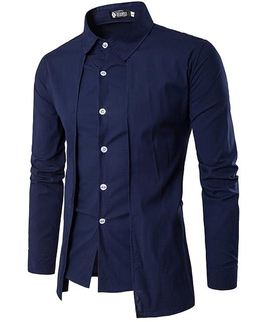 CLOCOLOR Camisa de Algodón Manga Larga Cuello con Solapa Botones Ajustado  Para Hombre Casual Formal Top de Oficina Men Shirt Azul Talla L  Amazon.es   Ropa y ... 990090e0430