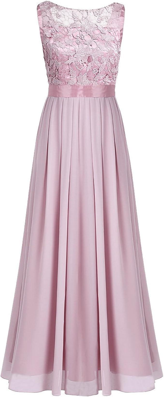 iiniim Damen Elegant Abendkleid Brautjungfer Cocktailkleid Chiffon  Faltenrock Langes Kleid Festlich Hochzeit Partykleid