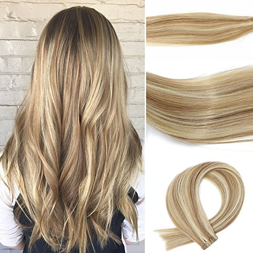 Vario Tape In Hair Extensions 7A Two-tone Colored Hair Bleach Blonde (Color #613) Highlighted with light Golden Brown (Color #12) (16Inche 30g/20PCS #12p613)