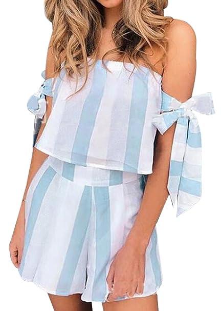 Amazon.com  Women s 2 Pcs Striped Print Bohemian Crop Tops+Shorts Set Two  Piece Outfit Suit  Clothing 0bf2e7f923