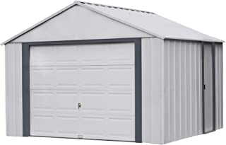 product image for Arrow Shed 12' x 10' Murryhill Garage Galvanized Steel Extra Tall Walls Prefabricated Shed Storage Building, Flute Gray