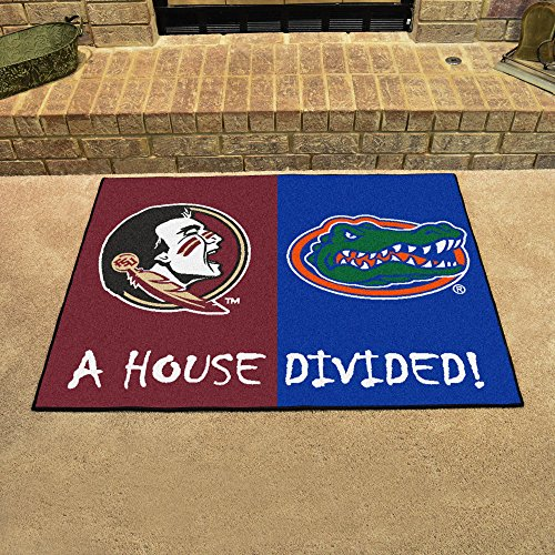 House Divided Floor Mat w Officially Licensed Team Logos -