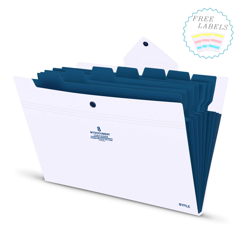 Organizador Documentos A4 Carpetas de Archivos Expandible Carpeta Clasificadora con 8 Compartimientos con cierre de bot/ón para Herramientas Escolares y de Oficina cubierta azul