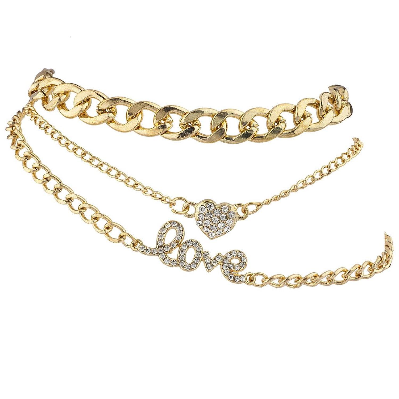 Lux Accessories Goldtone Love Heart Curb Chain Anklet Ankle Bracelet Set 3PCS
